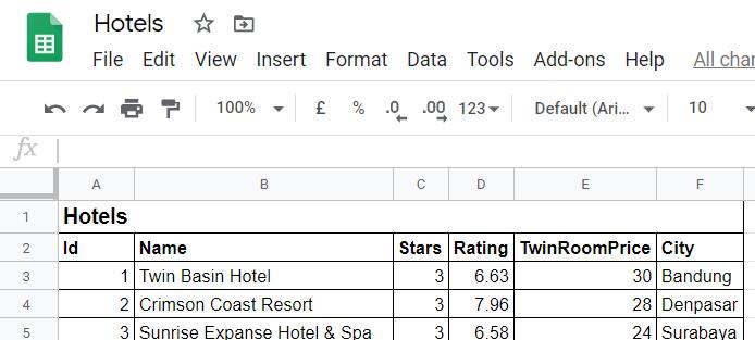 Sampling Google Sheets Data